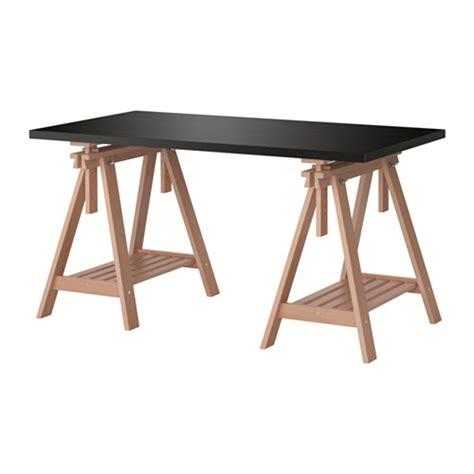linnmon finnvard table black brown beech ikea