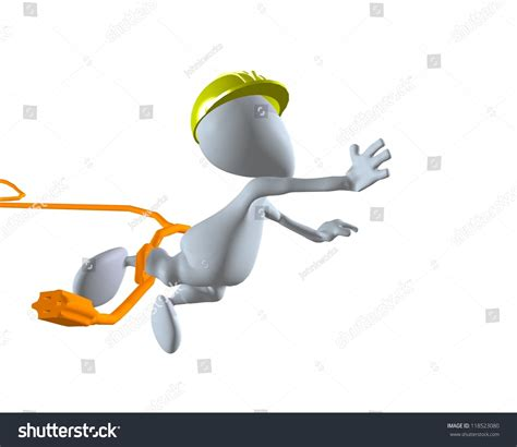 stock illustration of 3d man with safety equipment on 3d man construction worker tripping on stock illustration