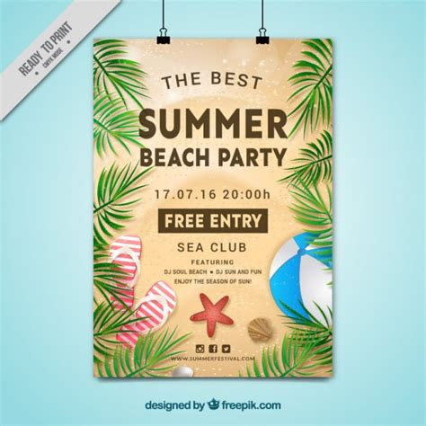 palm card psd template summer poster with palm leaves vector free