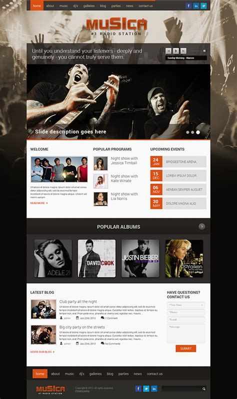 radio station schedule template musica 1 radio station responsive template on