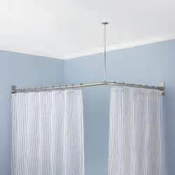corner shower curtain rod brushed nickel shower curtain signature hardware corner shower curtain rod 60 quot l x 30 quot w
