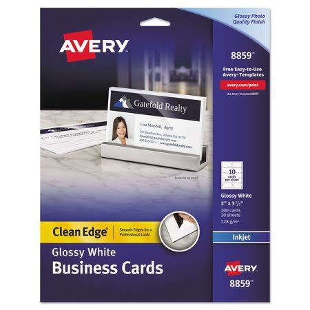 Avery 2 X 3 5 Business Card Template by Avery Clean Edge Business Cards Inkjet 2 X 3 1 2 Glossy