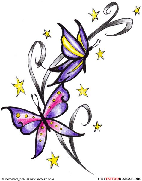 tattoo designs butterflies and stars and butterfly design