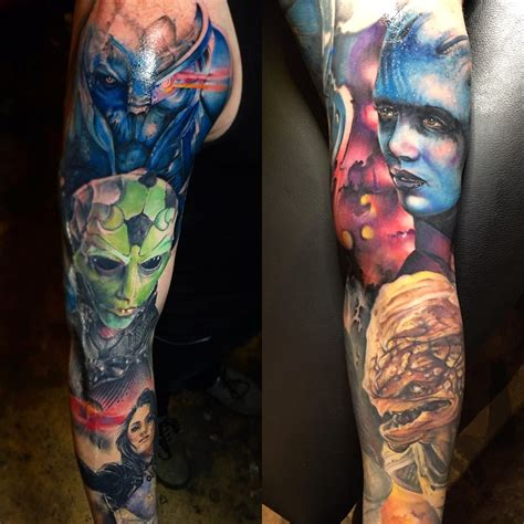 mass effect tattoos mass effect sleeve by jeff hubbard at revolution ink in