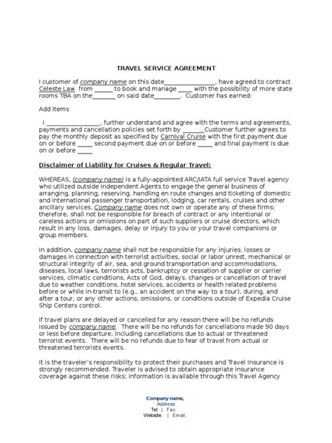 Agreement Letter For Travel Agency Service Agreement Template Travel Agency Cruise Ship