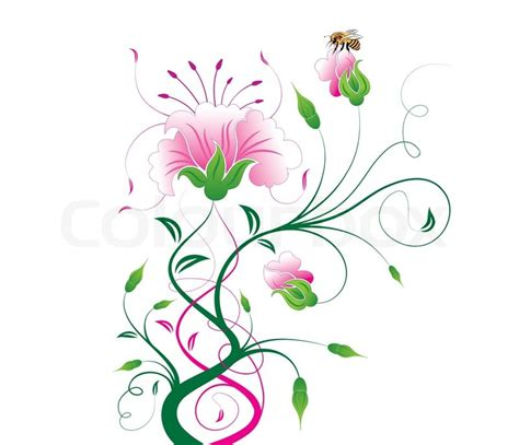 flower design pictures abstract flower with bee element for design vector