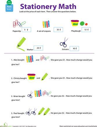 Making Change Stationery Math Math 2 5 Measurement