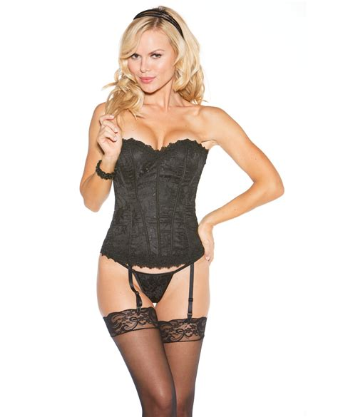 lace  satin corset wremovable garters   string black spicylegscom