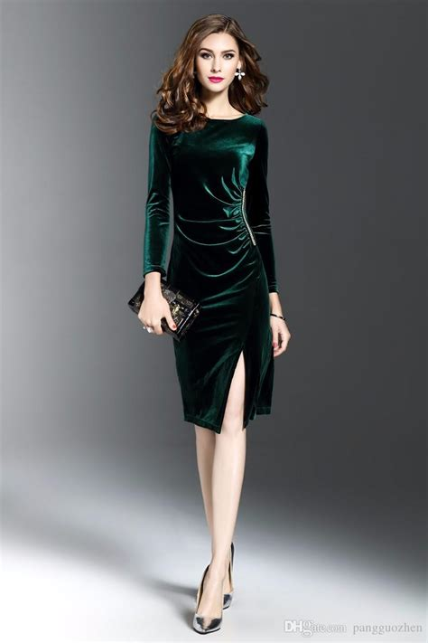 2017 Women Spring Velvet Dress Office Long Sleeves Slim Fit Sheath Diamonds Sexy Solid Vestidos