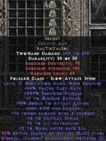 Infinity Diablo 2 Insight Cryptic Axe Ethereal 17 275 6 250