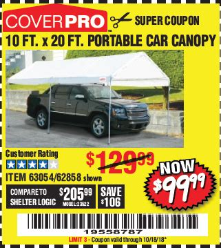 10 Ft X 20 Ft Portable Car Canopy - harbor freight tools coupon database free coupons 25