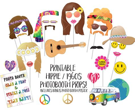 printable hippie photo booth props hippie 1960s photo booth props sixties printable photobooth