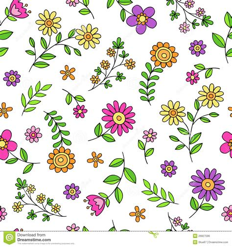 seamless doodle pattern free vector daisy flower doodles seamless pattern vector stock vector