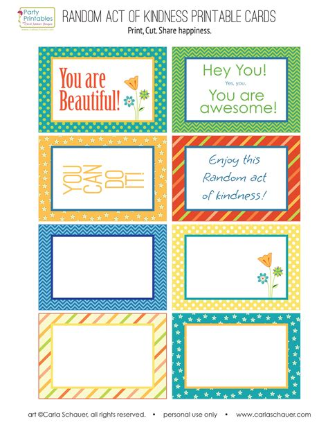 Random Acts Of Kindness Cards Templates by Random Act Of Kindness Free Printables Carla Schauer Designs