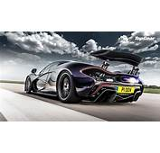 Awesome Purple McLaren P1 Rear Side View Shooting Flames On The Track