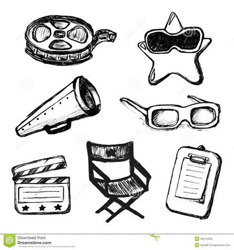 Icon Cinema Gift Card - cinema doodles vector icons royalty free stock photo image 35214445