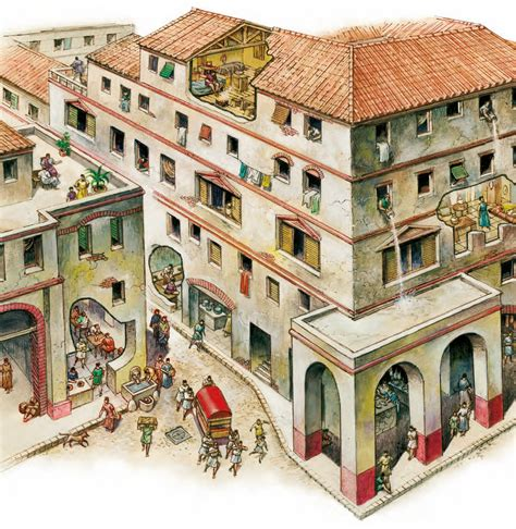 in ancient and cities whole blocks of housing