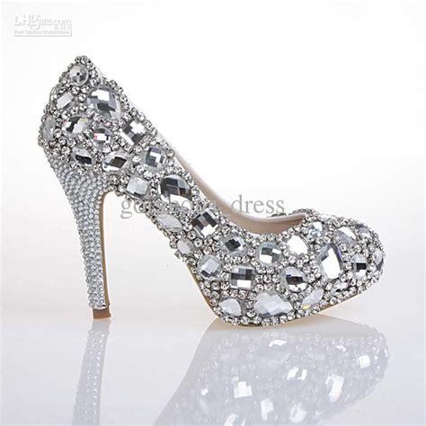 high heels diamonds design top white shoes high