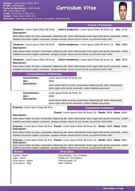 Plantillas De Curriculum Vitae En Formato Pdf Formato De Curriculum Vitae Plantilla Curriculum