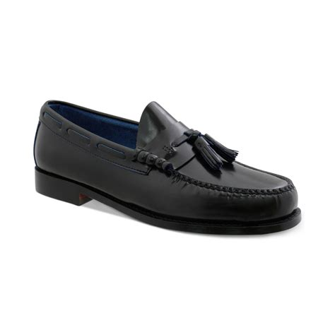 black loafers for g h bass co redman tassel loafers in black for lyst