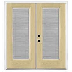 Patio Door Blinds Between Glass Shop Benchmark By Therma Tru 70 56 In Blinds Between The Glass Fiberglass Inswing Patio