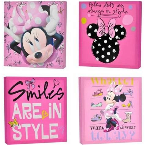 Minnie Mouse Wall Decorations by Disney Minnie Mouse 4 Pack Canvas Wall Walmart