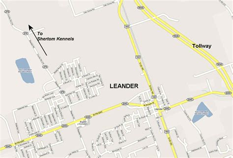 leander texas map directions to kennel