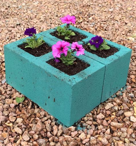 cinder block planter yard