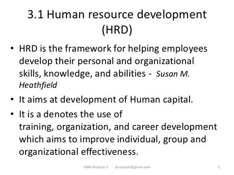 Human Resource Development Notes For Mba by Hrd Human Resource Development By Jinuachan Vadakkemulanjanal