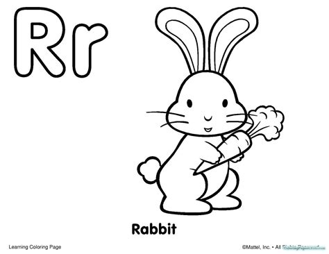 R For Rabbit Coloring Page by Alphabet Coloring Pages For Toddlers Coloring Pages For
