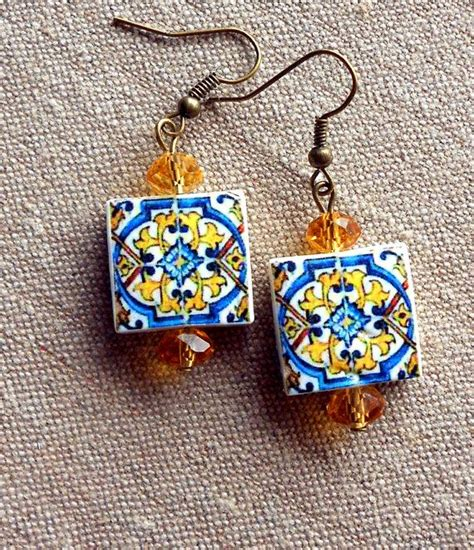 azulejo earrings portugal azulejo tile earrings replicas from the aveiro