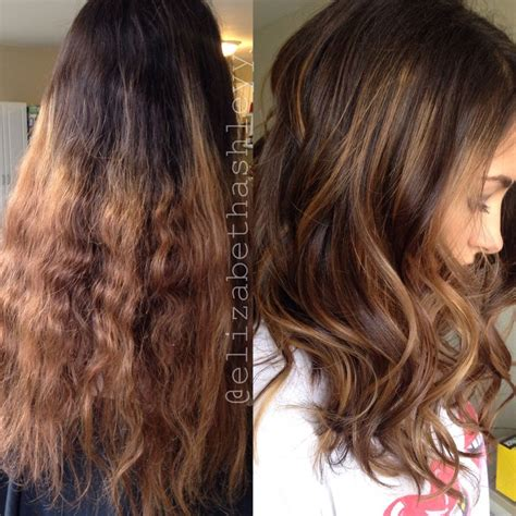 hair styles dark on top and light on bottom before and after correction medium length hair