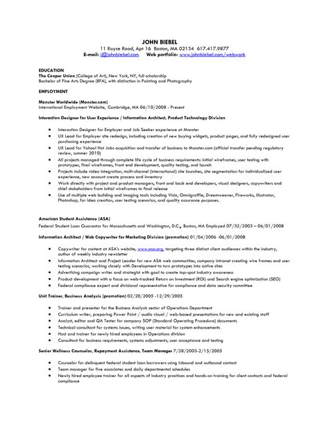 employee resume sle 28 sle resume for a position sle resume for an