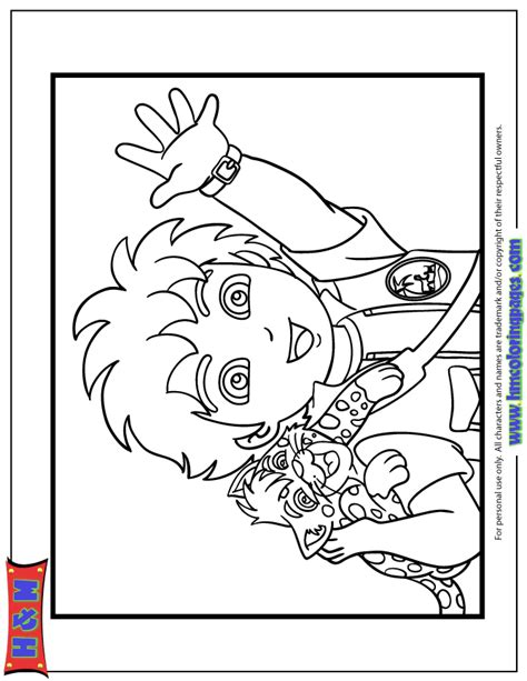 diego and baby jaguar coloring page h m coloring pages