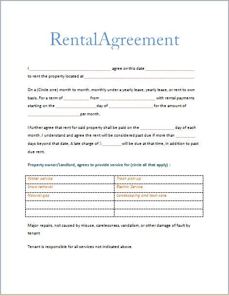 Printable Rental Agreement Forms