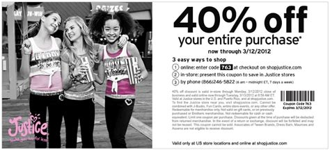 justice coupons 40 off printable 2012 justice printable coupon