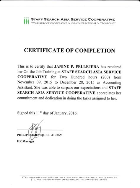 certification letter for completion ojt certificate of completion