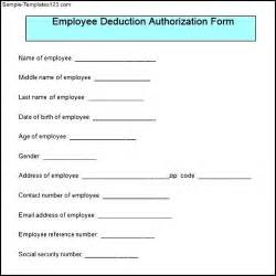 sample employee deduction authorization form sample