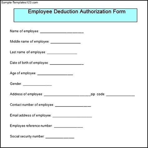 sle employee deduction authorization form sle