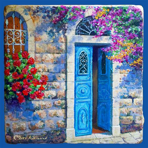 acrylic painting door items similar to jerusalem authentic door colorful
