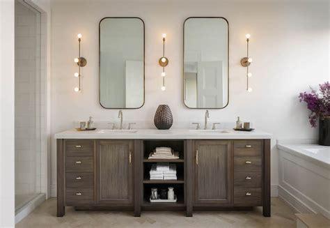 double vanity  center shelves transitional