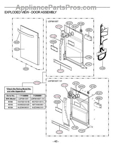 lg dishwasher parts diagram lg 4924fd2123e dispenser appliancepartspros