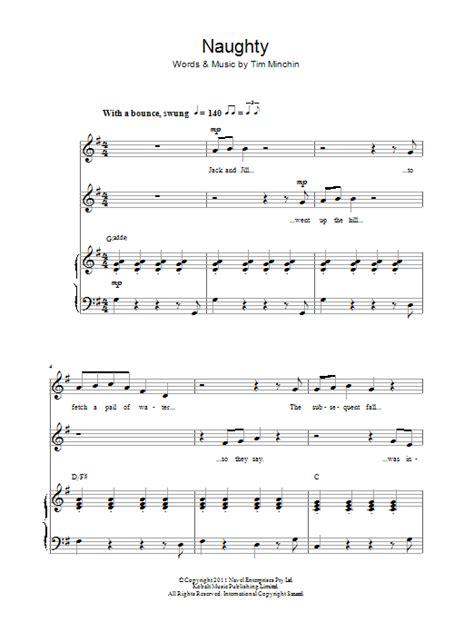 printable lyrics to naughty tim minchin naughty from matilda the musical sheet