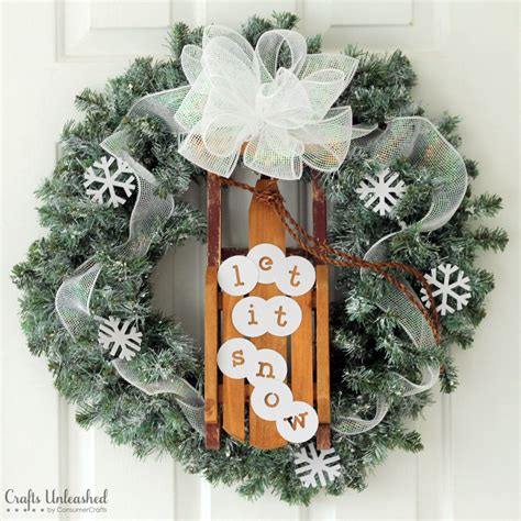 Winter Door Wreaths by Diy Winter Wreath Let It Snow Crafts Unleashed