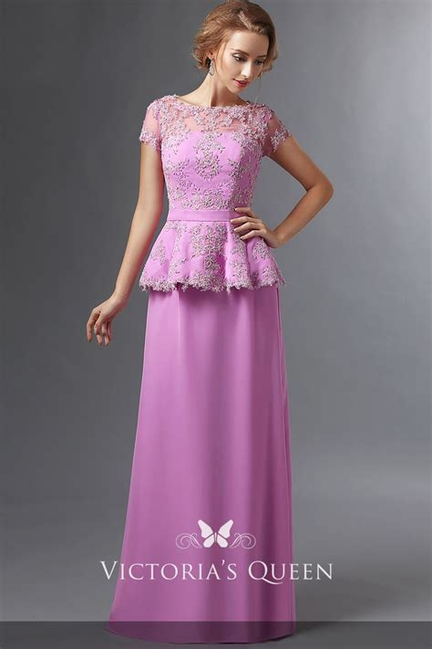 lace appliqued lilac satin short sleeve stylish peplum