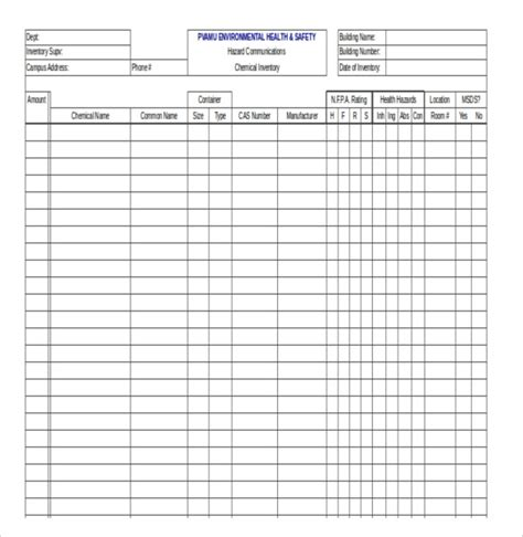 Search Results For Chemical Inventory List Template Calendar 2015 Osha Chemical Inventory Template