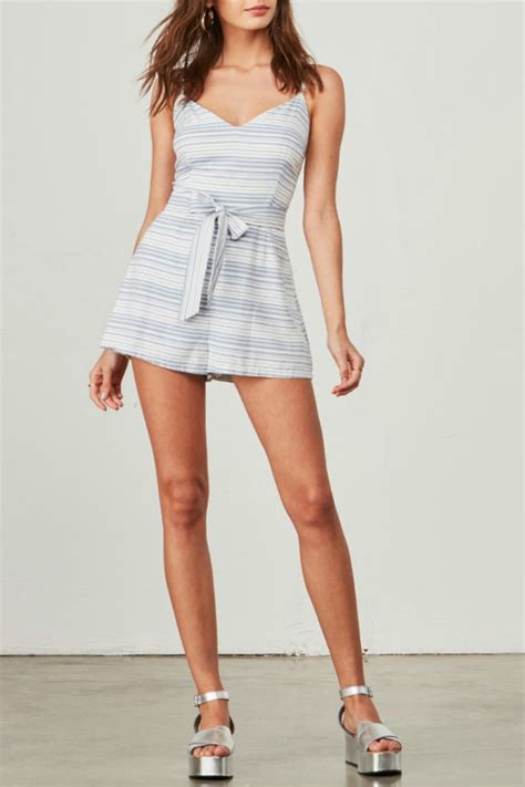 gs giana stripe romper bb dakota waist tie stripe romper from canada by envy