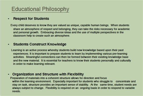 Teaching And Learning Outcomes Teaching Philosophy Template