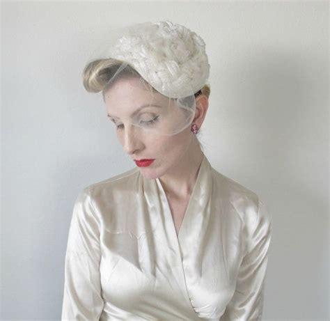 pin up wedding veil 1950s hat vintage bridal fascinator wedding veil by