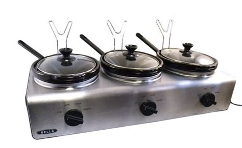 Bella Triple Slow Cooker 2 5 Quart Buffet Server Oval Cooker Buffet And Serve
